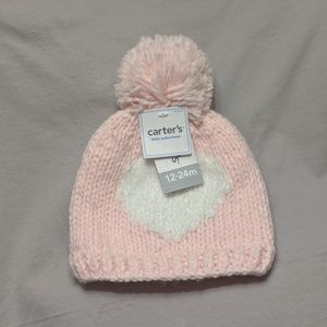 Carter's Pink Heart Hat - Size 12-24 months